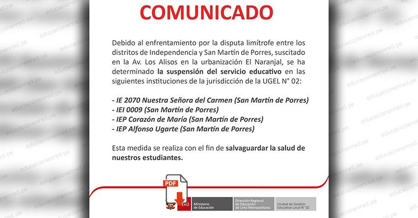 COMUNICADO DRELM: Suspensión de clases en 4 Colegios de San Martín de Porres - www.drelm.gob.pe