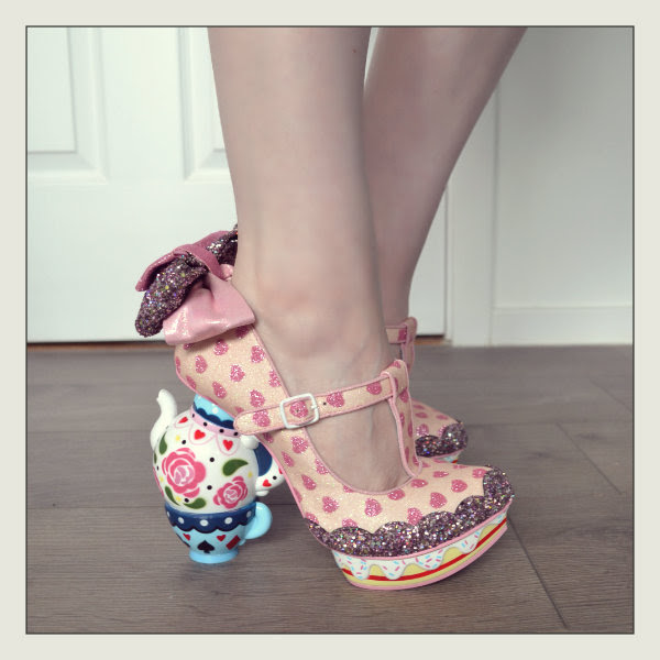wearing irregular choice my cup of tea pink shoes