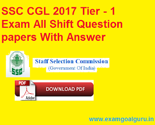 ssc cgl 2017 exam all question papers with answer key
