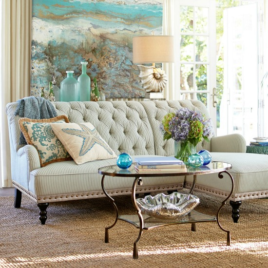 Romantic Beachy Living Room with Light Blue and Metalic Shimmer