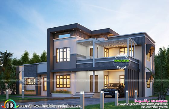 2776 sq-ft 4 bedroom flat roof Kerala home design