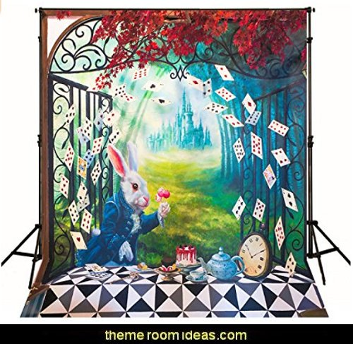 Alice in Wonderland Backdrop   Alice in Wonderland party decorating ideas - Alice in Wonderland theme party decorations - Alice in Wonderland costumes -  Alice in Wonderlnd wall decals - Alice in Wonderland wall murals -  tea party theme Alice in Wonderland Tea Party