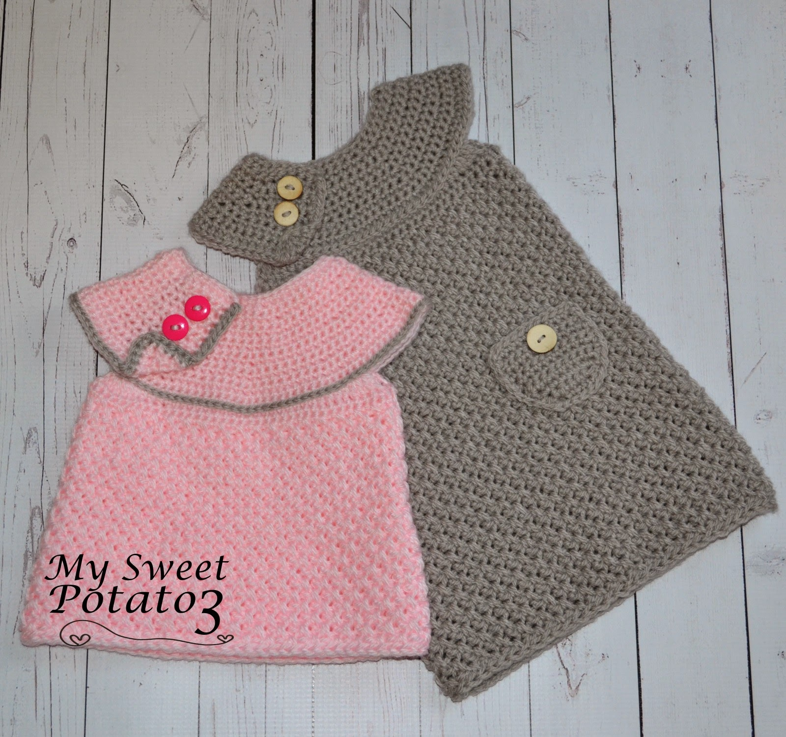 Sweet potato 3 crochet patterns for everyone the dress is made with a slight a line that falls just below the knee but simply shorten the length and it can be worn as a sweater with leggings bankloansurffo Image collections