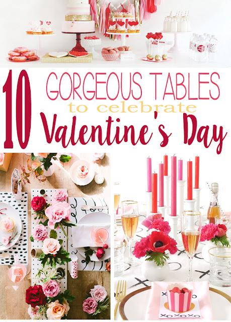 a collection of beautiful tables set for Valentine's day