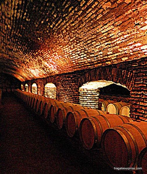 Tonéis de vinho armazenados na bodega da Vinícola Concha y Toro, Chile