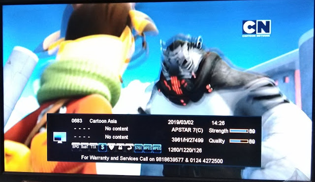 Cartoon Network Asia Free to air from Asiasat 7 Satellite