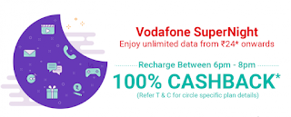 PhonePe - Get 100% Cashback on Vodafone SuperNight Recharge