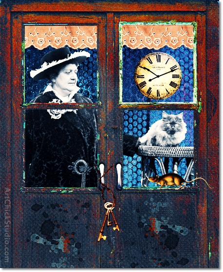 Cat Behind the Door Digital Collage