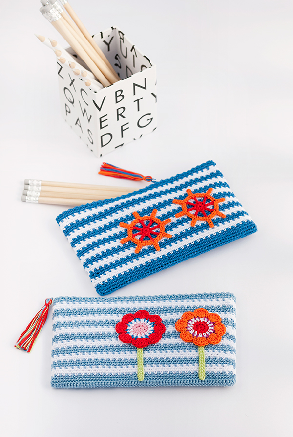 Back to School colorful crochet pencil cases free pattern