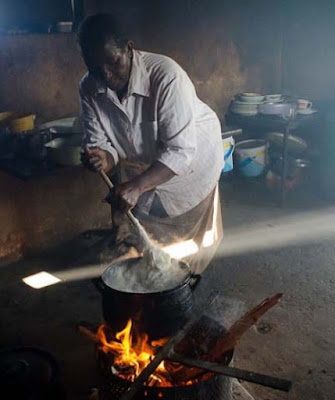 Making Eba also known as Garri in Nigeria