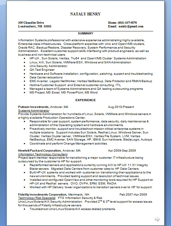how to start a system administrator resume in word format