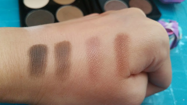 Swatch from left to right: Easy Charcoal, Easy Brown, Glam Espresso, Glam Cocoa.