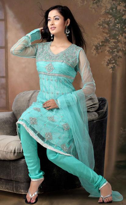 fd7d441ec2 Sky Blue Anarkali Style Churidar Kameez Set | THE SERIAL DESIGNER