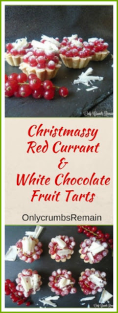 These Red Currant & White Chocolate Fruit Tarts with creme patisserie look so festive, they'd certainly not be out of place on a seasonal buffet table.