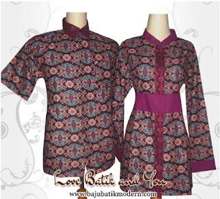 Model Baju Batik Resmi Kombinasi Warna Ungu