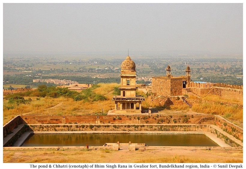 Pond and Bhim Singh Rana chhattri (cenotaph), Gwalior fort, Bundelkhand region, central India - Images by Sunil Deepak