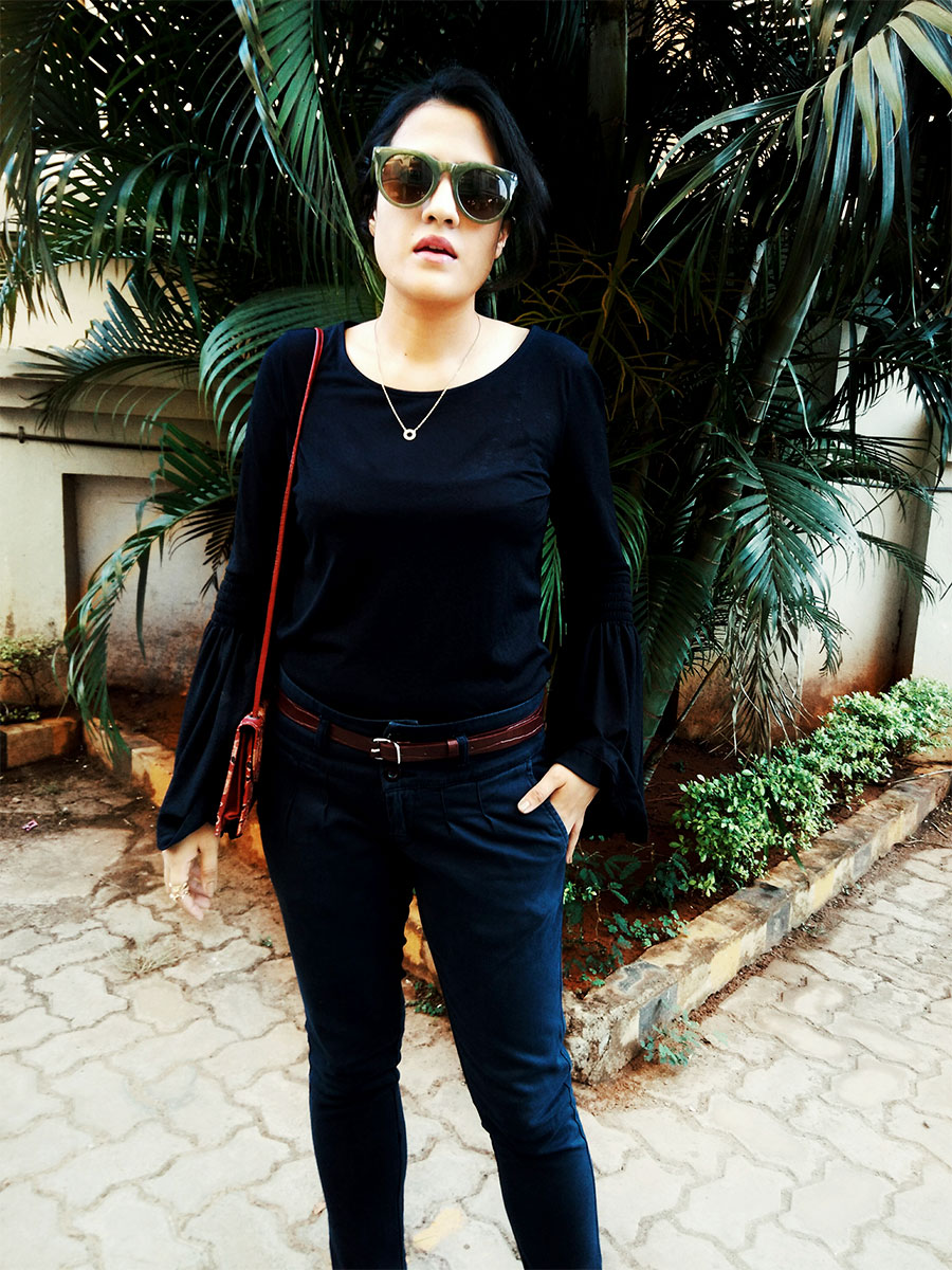 navy on navy look,streetstyle,next navy top,zara navyblue trousers,indian fashion blogger