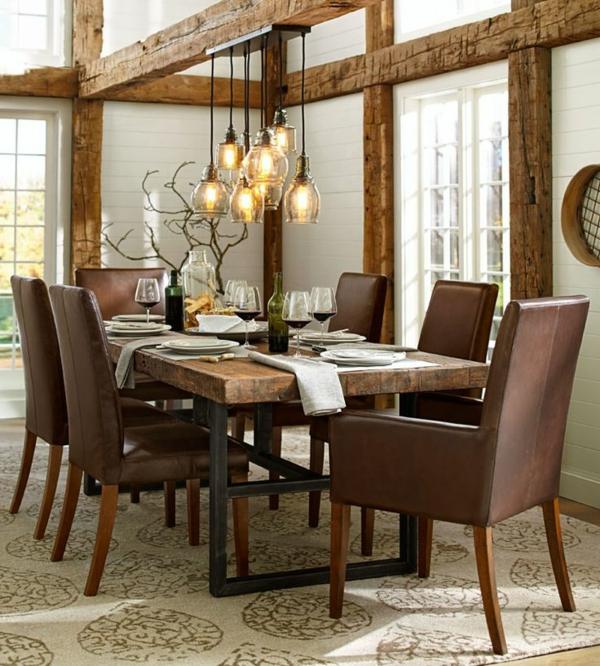 Pendelleuchten Esszimmer Elegante Braune Stuhle Wohnidee Wohnen