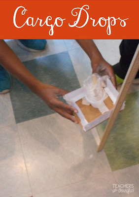 STEM Challenge: THis is a rescue challenge that has kids creating a cargo container that will save the cargo that is being dropped! They love dropping their containers!