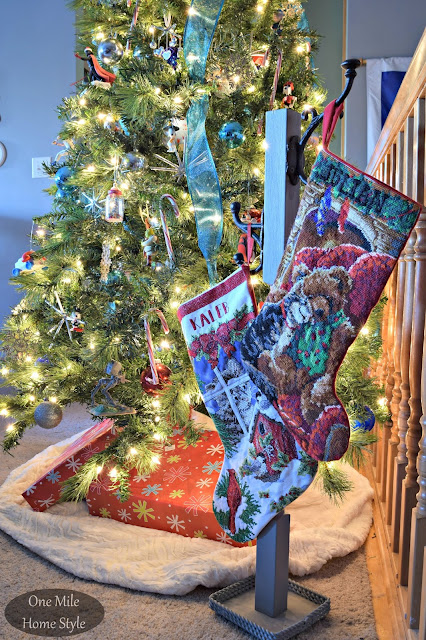 DIY Stocking Hanger Instead of Using a Mantel | Christmas Home Tour - One Mile Home Style