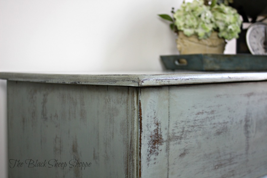 Duck egg blue chalk paint painted on blanket chest.