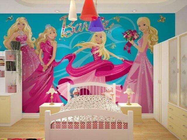 papier peint avec dessin de Barbie