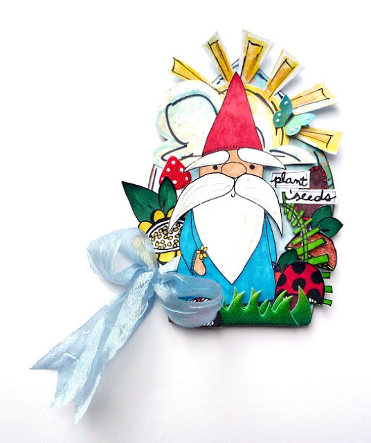 Mixed Media Gnome Arch with Layered Stamped Images
