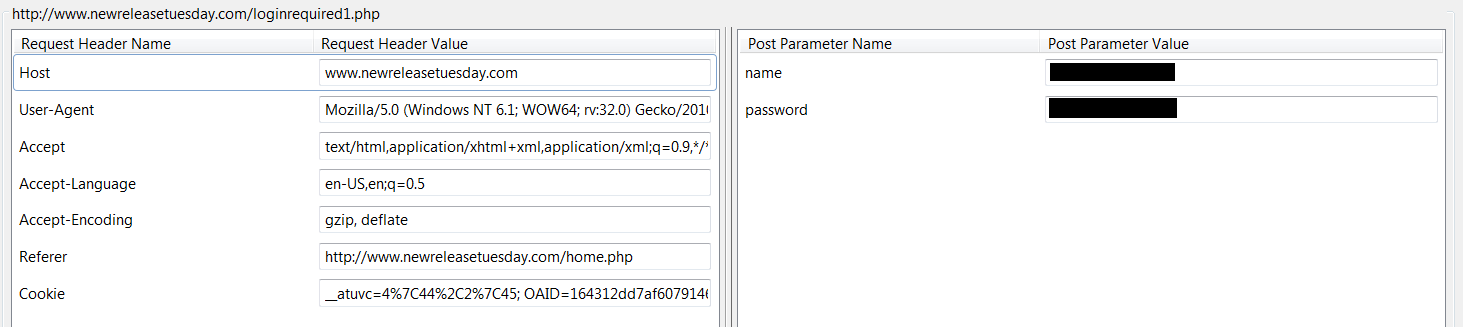 Tamper Data shows the HTTP headers to be sent to a web site, in this case a user agent string, a cookie, and login credentials.