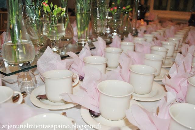koristelu, vaaleanpunainen, häät, kukka-asetelma, hääkahvi
