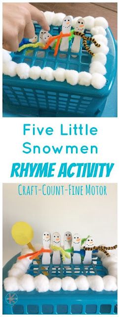 Kids will love this super cute winter theme 5 little snowmen idea is such a fun way to sneak a snowman rhyming activity into your December, January, or February day. This five little snowmen project involves a making a snowman craft, reciting the rhyme while counting, and improving fine motor coordination too. This is perfect for toddler, preschool, pre-k, kindergarten, and first grade students.