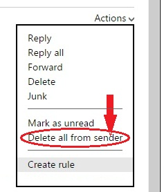 Delete mail from hotmail sender