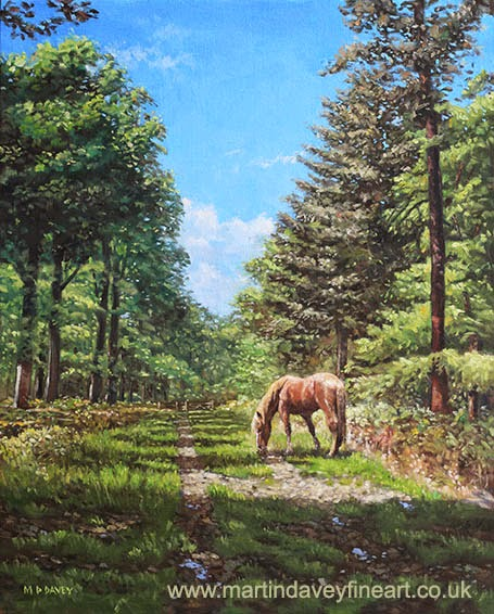 Horse in New Forest – oil painting artist Martin Davey
