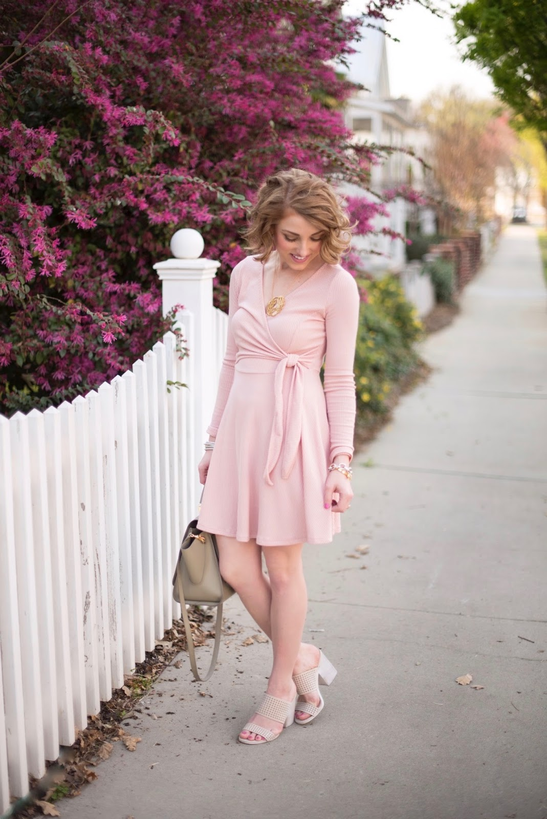 Blush Wrap Dress - Something Delightful Blog