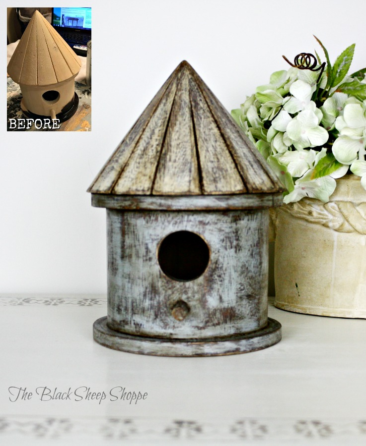 Thrift store birdhouse given a rustic look with leftover paint.