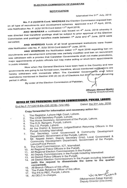 Notification Lifting Ban Election Commission Of Pakistan