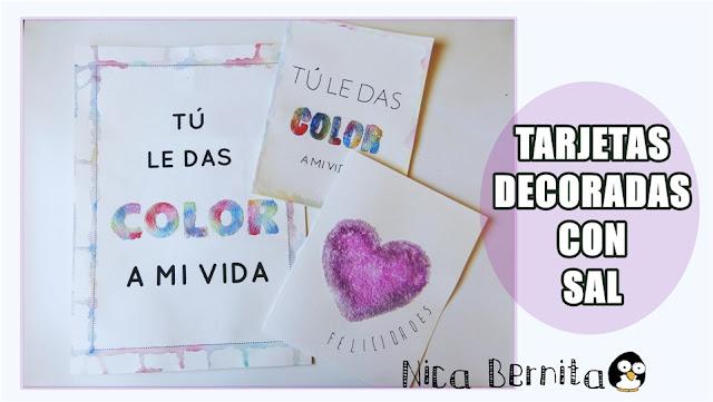 Tarjetas o postales decoradas con sal y témperas (Nica Bernita)