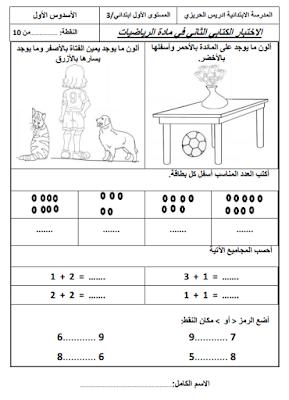 فرض في الرياضيات المرحلة الثانية المستوى الأول ابتدائي - الفرض الثاني من الأسدوس الأول