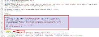 Pemasangan kode google analitycs di template