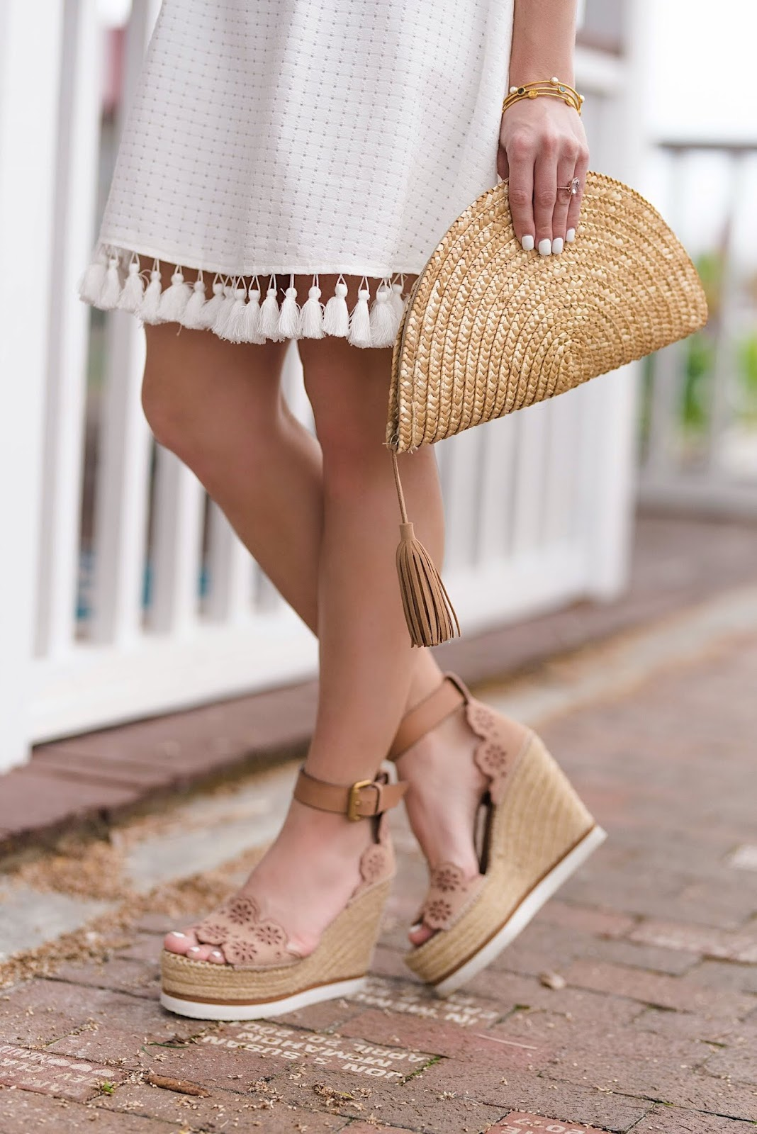 Tassel Hem White Dress + See by Chloe Wedges - Something Delightful Blog