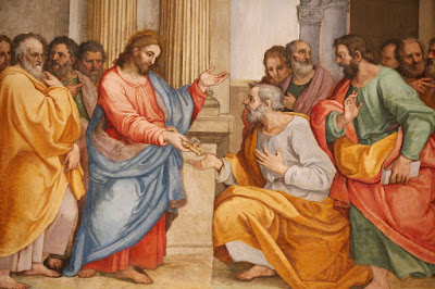 Christ giving the keys to the kingdom to Peter