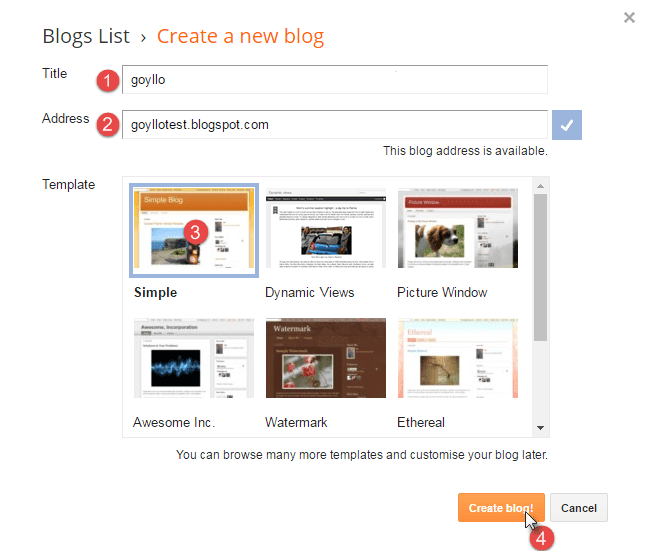 Enter your blog name, choose template and hit create blog button