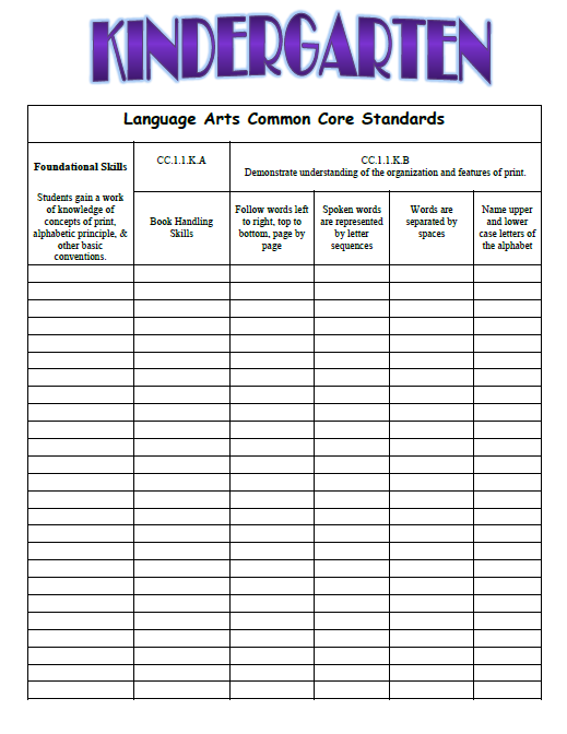 CCSS1 - Common Core Kindergarten