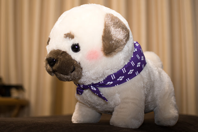 A bow-wow from Mameshiba Sankyodai Pug-beh the plushie puppy from GoodsFromJapan.