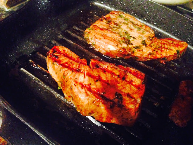 Orange and soy marinated seared tuna steaks