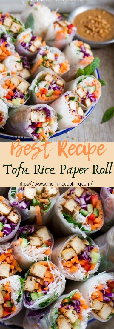 Tofu Rice Paper Rolls #dinnerrecipe #food
