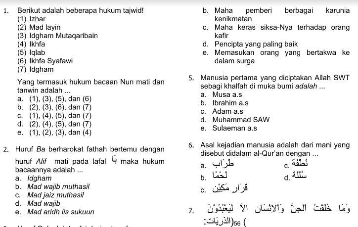 Download Contoh Soal UAS Semester Ganjil SMA Kelas X Mata Pelajaran Pendidikan Agama Islam Kurikulum 2013 Format Microsoft Word