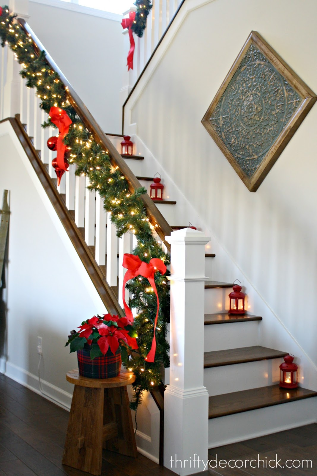 Our Christmas staircase! from Thrifty Decor Chick