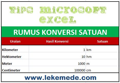 Rumus Untuk Konversi Satuan di Microsoft Excel