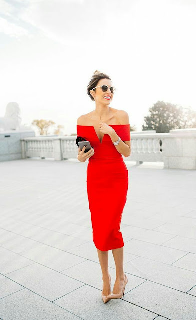 Off shoulder red bodycon Dress