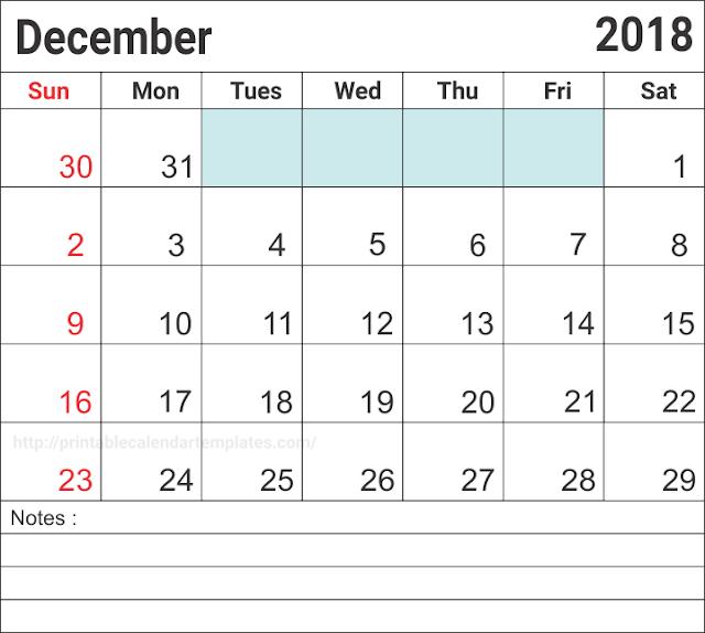 2018 December A4 Calendar Template